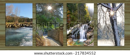 Collage - four seasons on wooden board background. river at springtime, sunny path through olive grove, mountain brook with cascades, snow covered tree with sunburst. - Shutterstock ID 217834552