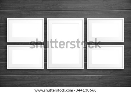 Collage frames on wooden wall background, mockup | EZ Canvas