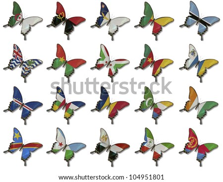 Collage from African flags on butterflies isolated on white