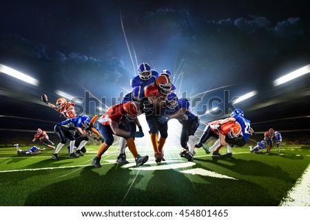 Collage from american football players in the action grand arena #454801465