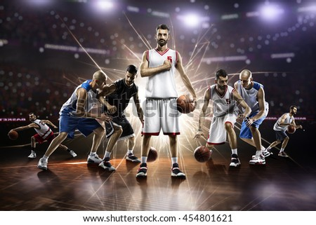 collage from basketball players in action on grand arena