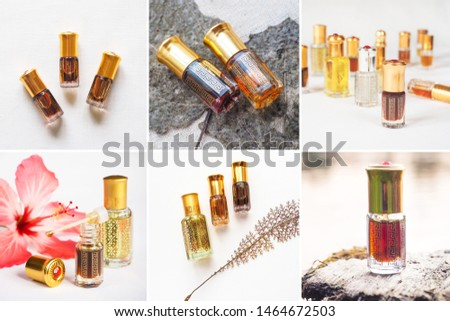 Collage from different pictures of Arabian oud attar perfume or agarwood oil fragrances in mini bottles. #1464672503