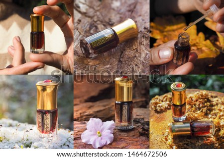 Collage from different pictures of Arabian oud attar perfume or agarwood oil fragrances in mini bottles. #1464672506