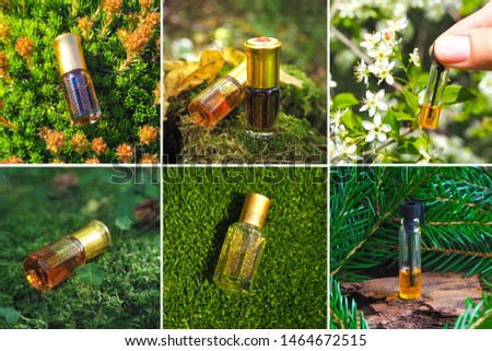 Collage from different pictures of Arabian oud attar perfume or agarwood oil fragrances in mini bottles. #1464672515