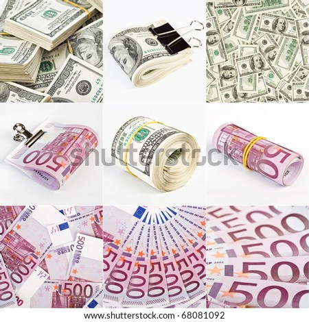 Collage from dollar and euro money backgrounds
