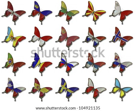 Collage from European flags on butterflies isolated on white