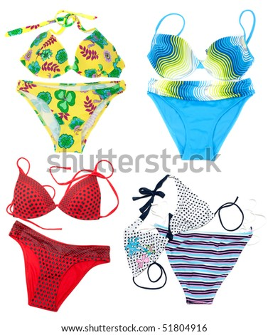Collage from feminine varicoloured swimsuit on white background. The Photography is formed from several pictures.