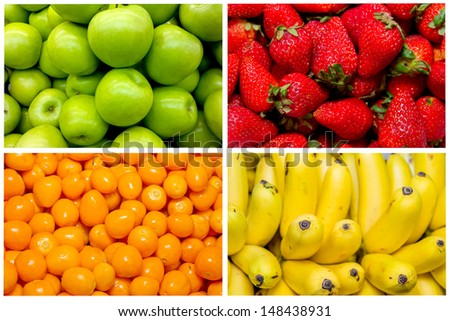 Collage from fresh fruit and vegetables