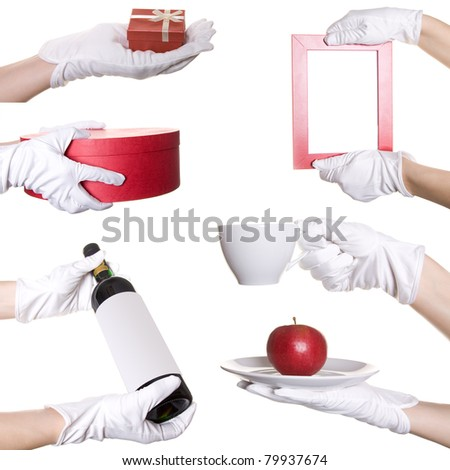 Collage from human hands in white textile glove with different objects - stock photo