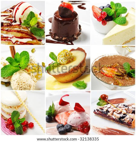 Collage from nine Photographs of Dessert #32138335