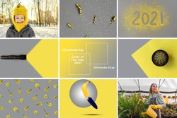 Collage from photos, gray yellow trendy colors 2021. Symbol winter and summer, flowers, bananas, boy, woman, flashlight.