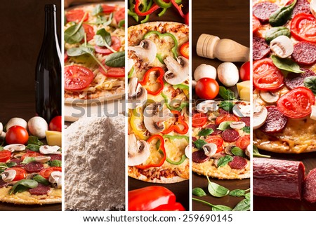 Collage from photos of pizza with bell pepper and mushrooms