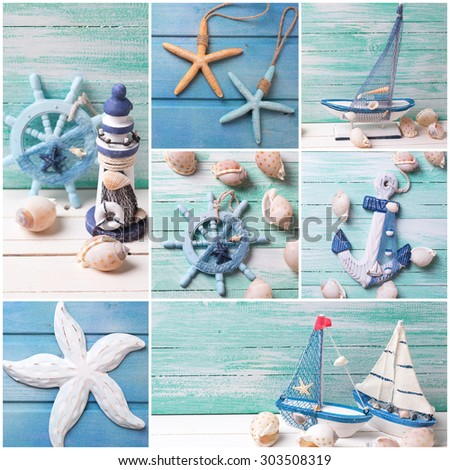 Collage from photos with sea theme decorations. Decorative lighthouse,  sailing boats and marine items on wooden background. Sea objects on wooden planks. Selective focus.