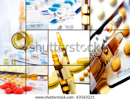collage from several image; drugstore background