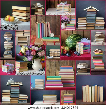 Collage from still lifes with books. Background from books. Books close up. Books on the shelf.