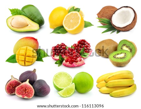 Collage from tasty fruit on white - stock photo
