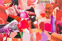 Collage from torn pieces of magazine paper. Abstract creative background from clippings with magazine paper in red, pink and purple colours.