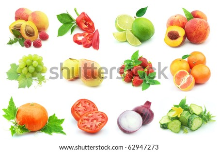 Collage from vegetables and fruit