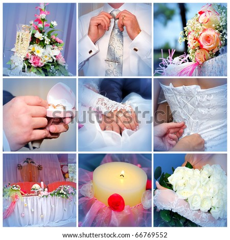 Collage from wedding photos. Nine in one - stock photo