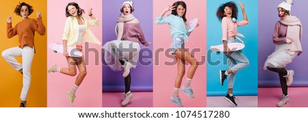 Photo of  Collage Full-length portrait of carefree girl in white pants jumping on orange background. Romantic lady with wavy hair dancing in knitted sweater.
