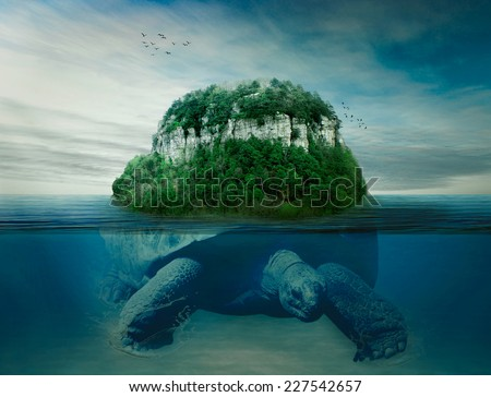 Collage giant world turtle carrying island the earth on back swimming under the ocean surface in blue water. Astrology, astronomy, ancient mythology, mystery, magic, dreamland, imagination concept