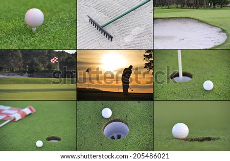 Collage Golf sport play the game