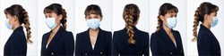 Collage Group Face Head Shot Portrait of 20s Asian Woman brown pia hair blue suit. Girl wear Surgical Mask to protect Virus covid in 360 many angle view over white Background isolated