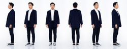 Collage Group Full length Figure snap of 20s Asian man black hair suit jacket pant and sneaker. Office boy stands and turns 360 around rear side back view over white Background isolated