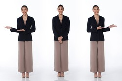 Collage Group Full length Figure snap of 20s Asian Woman short hair formal suit dress and shoes. Female stands and change fashion poses over white Background isolated