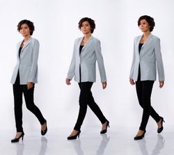 Collage Group Full Length Portrait of 20s Asian Woman black short curl hair gray suit jacket pant and shoes. Girl walk left view many looks over white Background isolated