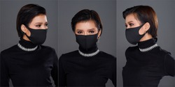 Collage Group Half Body Portrait of 20s Asian Woman black hair black turtle neck dress. Fashion Girl poses many view looks, cosmetic on Eyes, wear protective face mask over gray Background isolated