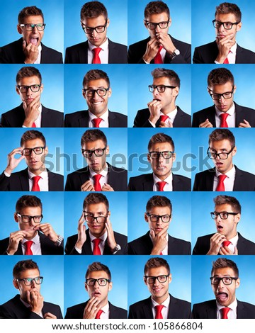 Collage group picture of many business man facial expressions on blue background
