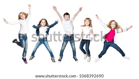 Collage happy group of kids jumping on a white background  #1068392690