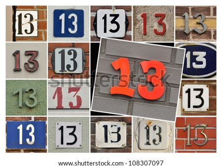 Collage House Numbers of prime number Thirteen