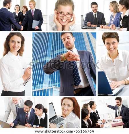 Collage illustrates finance, communication, interaction, business lifestyle