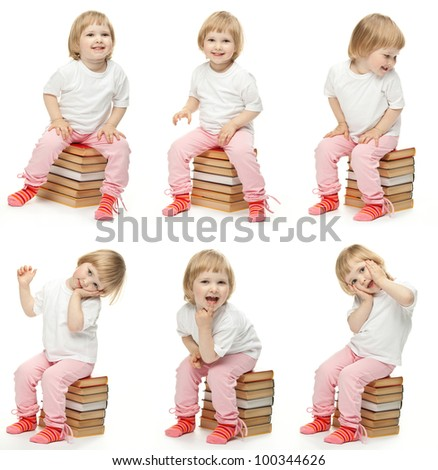 Collage image of cheerful child sitting on stacked books and posing; studio portraits of a baby girl on white background