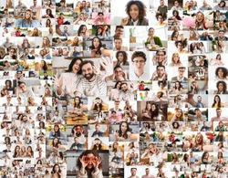 Collage image of different cheerful multinational people looking at camera