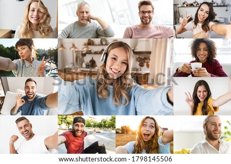 Collage image of different joyful multinational people looking at camera