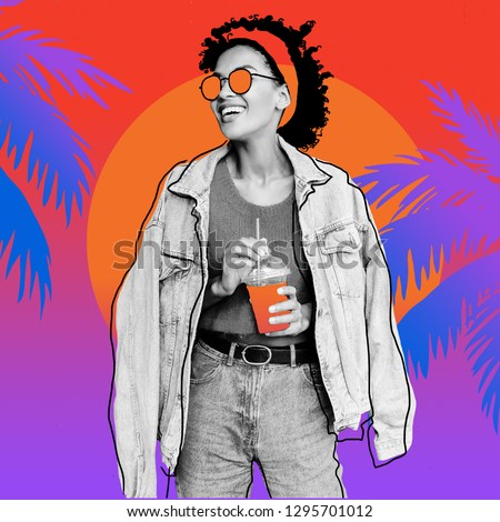 Collage image of Happy mixed race female with stylish Afro hairs posing outdoor , holding cherry lemonade , wearing jeans jacket.   Gradient  palm and sunset.