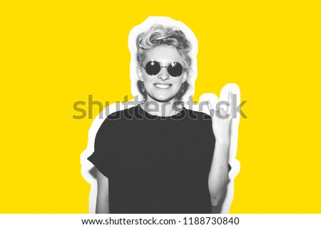 Collage in magazine style of stylish fashion sexy blonde bad girl in a black t-shirt and rock sunglasses. Dangerous rocky emotional woman. Black and white toned. White background, not isolated