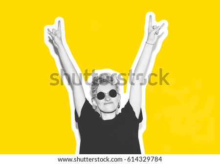 Collage in magazine style with colorful emotional fashion short hair blonde. Crazy girl in black t-shirt and rock sunglasses scream holding her head. Rocky woman white toned yellow background #614329784