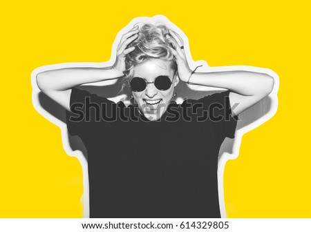 Collage in magazine style with colorful emotional fashion short hair blonde. Crazy girl in black t-shirt and rock sunglasses scream holding her head. Rocky woman white toned yellow background #614329805
