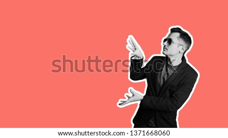 Collage in magazine style with trendy stylish confident positive cheerful man in sunglasses. Salesman promotion offer ad Trendy coral color background copy space for sale banner Discount sales concept Foto stock ©