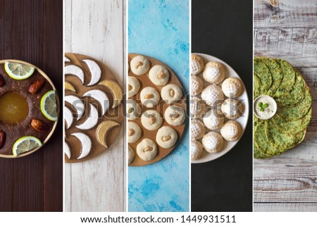 Collage in the form of vertical stripes showing Arabian sweets. Arabian cuisine. Ramadan food background.