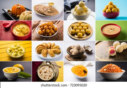 Stock photo collage of Indian sweets gulab jamun/Rasmalai/ Basundi/Angoori Rasmalai/Gujiya or Karanji/Kheer Kadam/Mango Srikhand/Kheer, Saffron Rice/Gajar Halwa, rasgulla/bundi, coconut & besan laddu