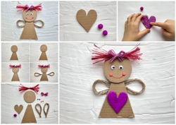 Collage, instructions on how to make a doll with a heart from cardboard recycling, kids craft.