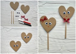 Collage instructions on how to make a valentine's day heart from recycled cardboard