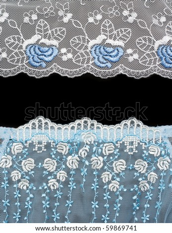 Collage lace with blue pattern in the manner of flower. Picture is formed from several photographies - stock photo
