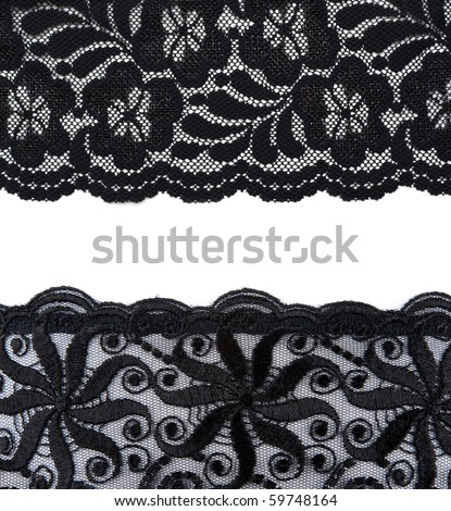 Collage lace with pattern on white background. Picture is stuck from several photographies