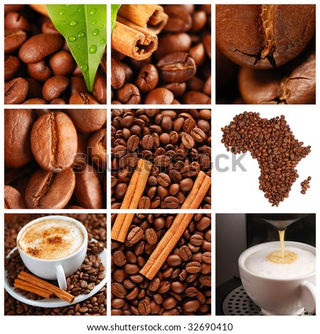Collage made with coffee beans, cups and other - stock photo